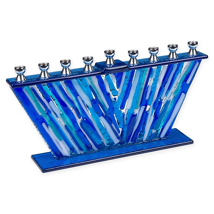Alternate image 1 for 9.75-Inch Glass Hanukkah Menorah in Silver/Blue