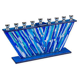 9.75-Inch Glass Hanukkah Menorah in Silver/Blue