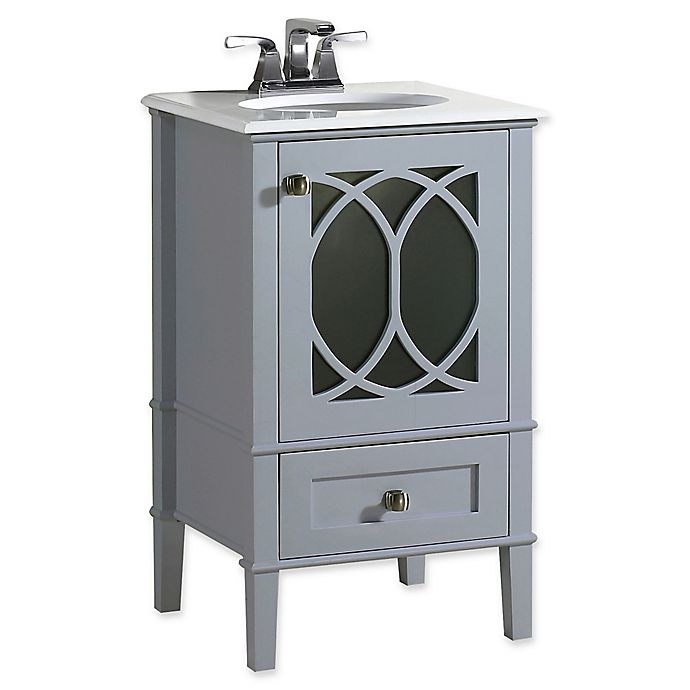 Simpli Home Paige 20 Inch Bathroom Vanity With White Quartz Marble Top In Grey Bed Bath Beyond