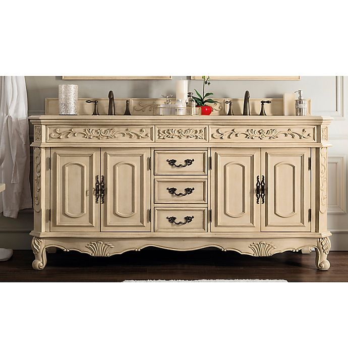 Alternate image 1 for James Martin Riviera Marble Top Double Bathroom Vanity with Porcelain Sinks in Parchment