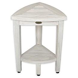 Coastal Vogue Teak Compact Shower Corner Bench with Shelf in Off White