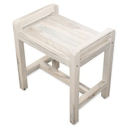 Coastal Vogue Classic Teak Stool with Lift Arms in Off White