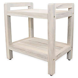 Coastal Vogue Classic Teak Stool with Lift Arms and Shelf in Off White