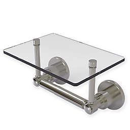 Allied Brass Washington Square Toilet Paper Holder with Glass Shelf in Satin Nickel