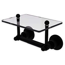 Allied Brass Astor Place Toilet Paper Holder with Glass Shelf in Matte Black