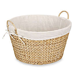 Household Essentials Round Banana Leaf Laundry Basket In Natural