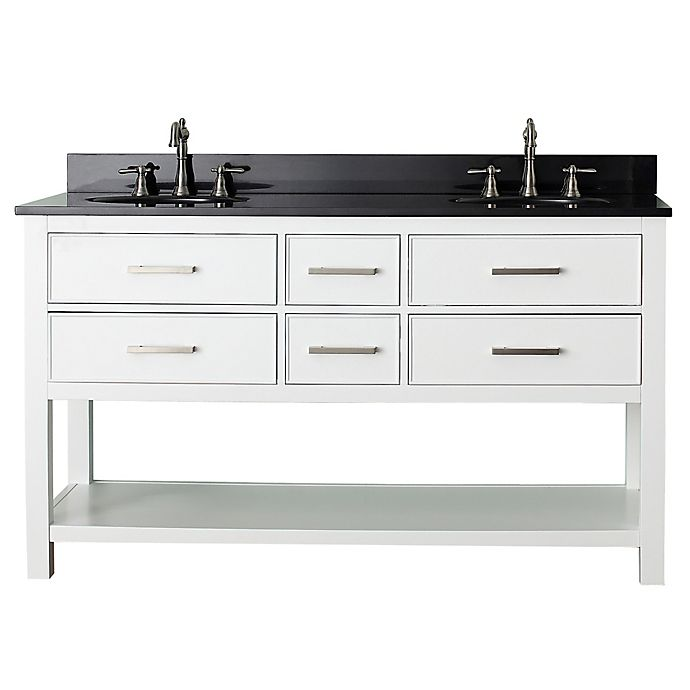 Alternate image 1 for Avanity Brooks 61-Inch Vanity Combo with Black Granite Top and Mirror in White