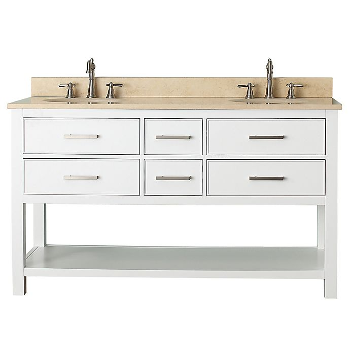 Alternate image 1 for Avanity Brooks 61-Inch Vanity Combo with Beige Marble Top and Mirror in White