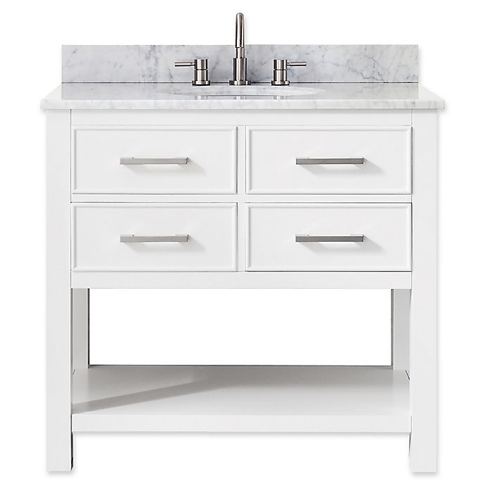 Alternate image 1 for Avanity Brooks 37-Inch Vanity Combo with White Marble Top and Mirror in White