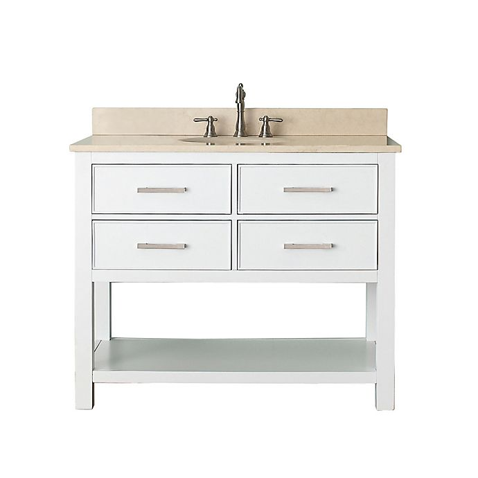 Alternate image 1 for Avanity Brooks 43-Inch Vanity Combo with Beige Marble Top and Mirror in White