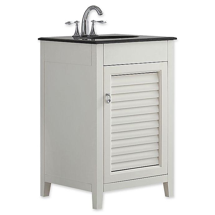Alternate image 1 for SimpliHome™ Adele 20-Inch Bath Vanity with Black Granite Top in Soft White