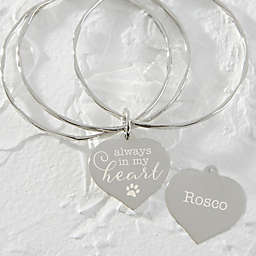 Always In My Heart Pet Charm Silver Bangle Bracelet