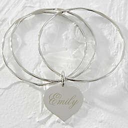 Heart Charm Silver Bangle Bracelet