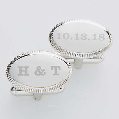 Wedding Date Engraved Silver Cufflinks