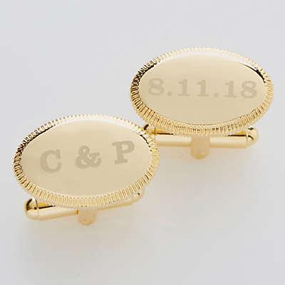 Wedding Date Engraved Gold Cufflinks