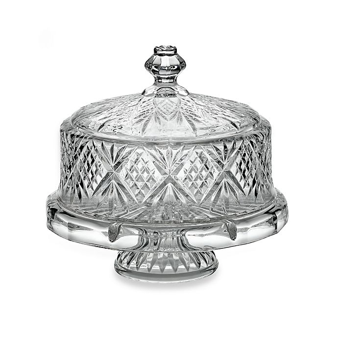 Alternate image 1 for Godinger Dublin Crystal 4- in -1 Footed Cake Plate with Dome Cover