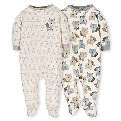 Gerber® 2-Pack Organic Cotton Teepee Fox Sleep N' Play Footies in Grey/Ivory