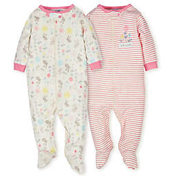 Gerber® Organic 2-Pack Cotton Floral Footies in Pink