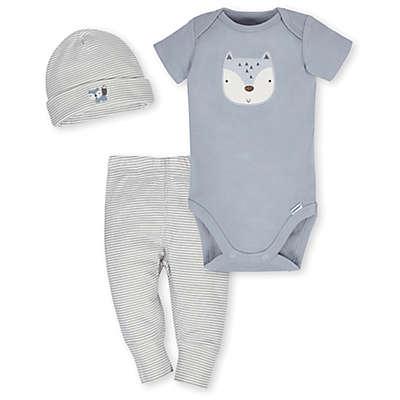 Gerber® 3-Piece Organic Cotton Fox Bodysuit  Pant  and Cap Set in Grey/Ivory