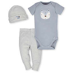 Gerber® 3-Piece Organic Cotton Fox Bodysuit  Pant  and Cap Set in Grey/Ivory