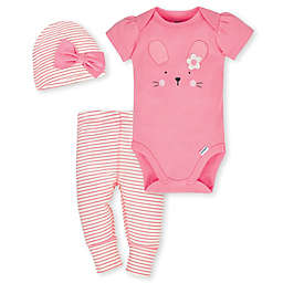 Gerber® Organic 3-Piece Cotton Bunny Bodysuit, Pants and Hat Set in Coral