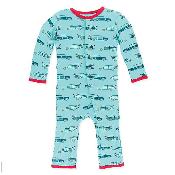 Alternate image 1 for Kickee Pants® Size 0-3M Shining Sea Woody Coverall in Blue