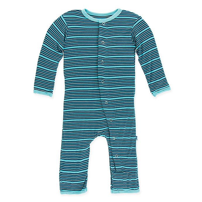 Alternate image 1 for Kickee Pants® Shining Sea Stripe Coverall in Blue