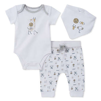 Absorba® 3-Piece Animal Bodysuit, Pant, and Bib Set in White