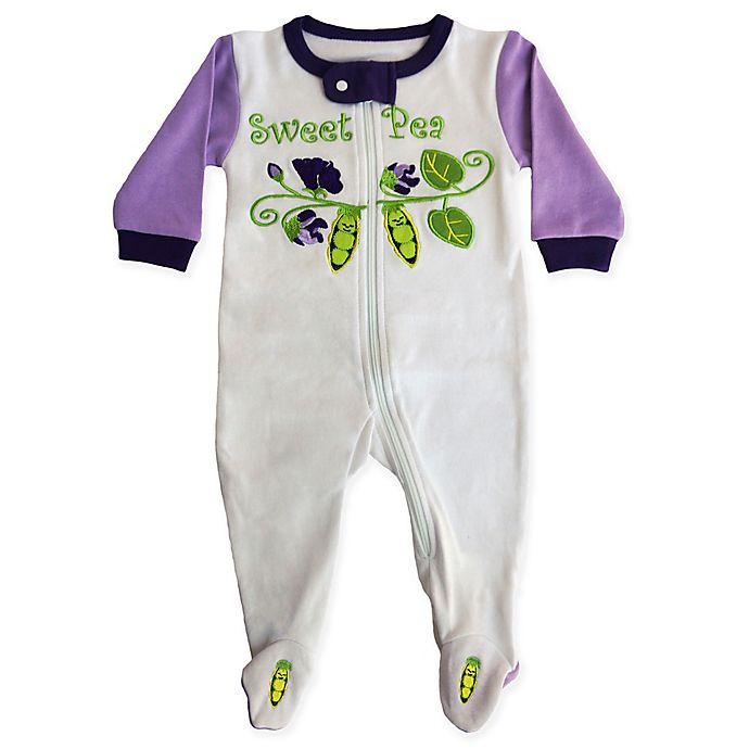 b0692d66c Sozo® Sweet Pea Footed Romper in White/Purple | buybuy BABY