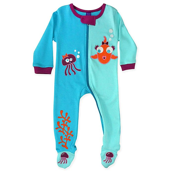 Alternate image 1 for Sozo® Size 18M Fish Girls Footed Romper in Blue/Purple