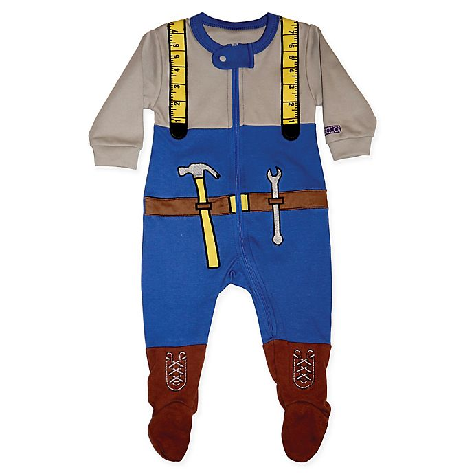 Alternate image 1 for Sozo® Size 6-9M Mr. Fixit Footed Romper in Blue/Grey