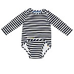 EZ-On BaBeez™ Size 3-6M Stripe Long Sleeve Bodysuit in Blue/White