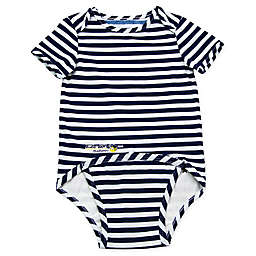 EZ-On BaBeez™ Stripe Short Sleeve Bodysuit in Blue/White