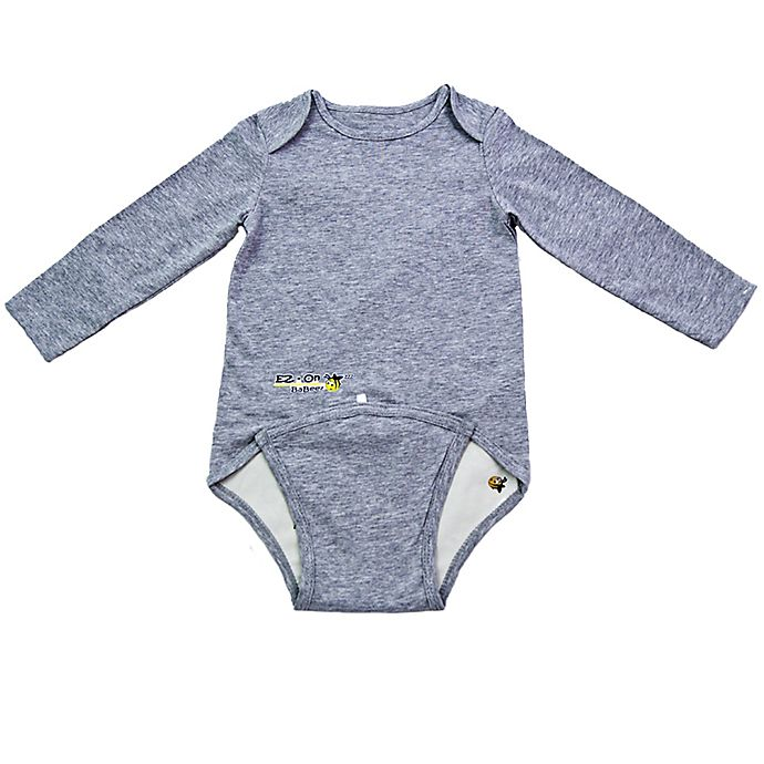 Alternate image 1 for EZ-On BaBeez™ Size 6-9M Long Sleeve Bodysuit in Heather Grey