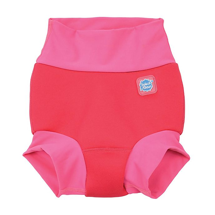 Alternate image 1 for Splash About Size 12-24M Happy Nappy™ Geranium Swim Diaper in Pink
