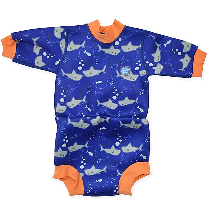 Alternate image 1 for Splash About Size 12-24M Happy Nappy™ Shark Wetsuit in Orange