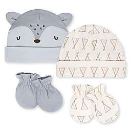 Gerber® Preemie 4-Piece Fox Organic Cotton Cuffed Cap and Mitten Set in Grey