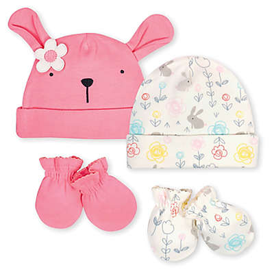 Gerber® Size 0-6M 4-Piece Organic Cotton Bunny Cap and Mitten Set in Coral