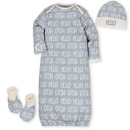 Gerber® 3-Piece Hello Organic Cotton Gown, Cap, and Bootie Set in Grey/Ivory