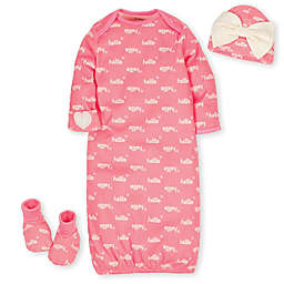 Gerber® Preemie 4-Piece Organic Cotton Gown, Booties and Hat Set in Coral