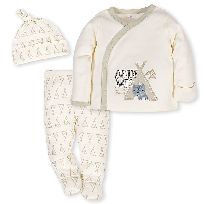 d861bea8a Gerber® 3-Piece Teepee Fox Side-Snap Shirt, Pant, and Cap Take Me Home Set  in Ivory