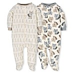 Gerber® Preemie 2-Pack Teepee Fox Sleep N' Play Footies in Grey/Ivory