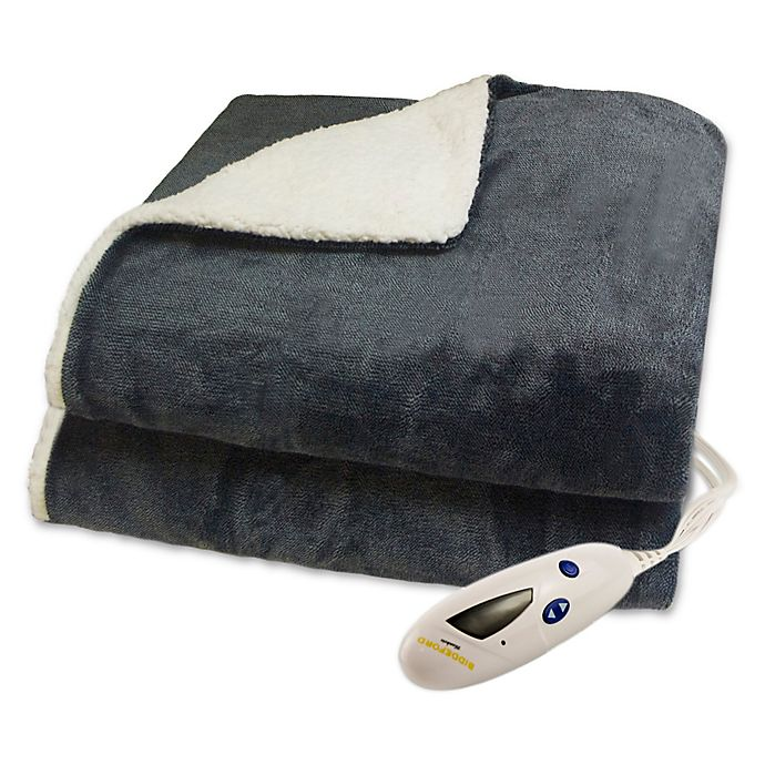 a9368ff0cc7 Biddeford® Velour Shepra Digital Heated Throw in Heather Grey