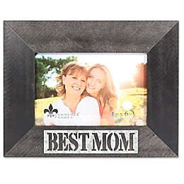 Lawrence Frames 6-Inch x 4-Inch Best Mom Antique Wood Picture Frame in Black