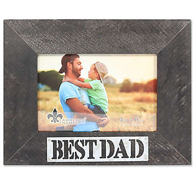 Lawrence Frames 6-Inch x 4-Inch Best Dad Antique Wood Picture Frame in Black