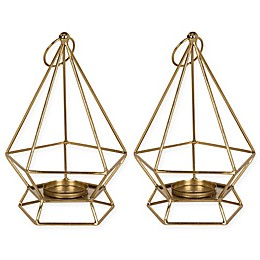 Kate and Laurel Stroud Candle Holders in Gold (Set of 2)