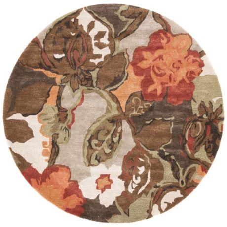 Jaipur Blue Collection Floral Rug In Brown Orange Bed