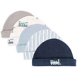 Luvable Friends® 5-Pack Train Caps in Blue