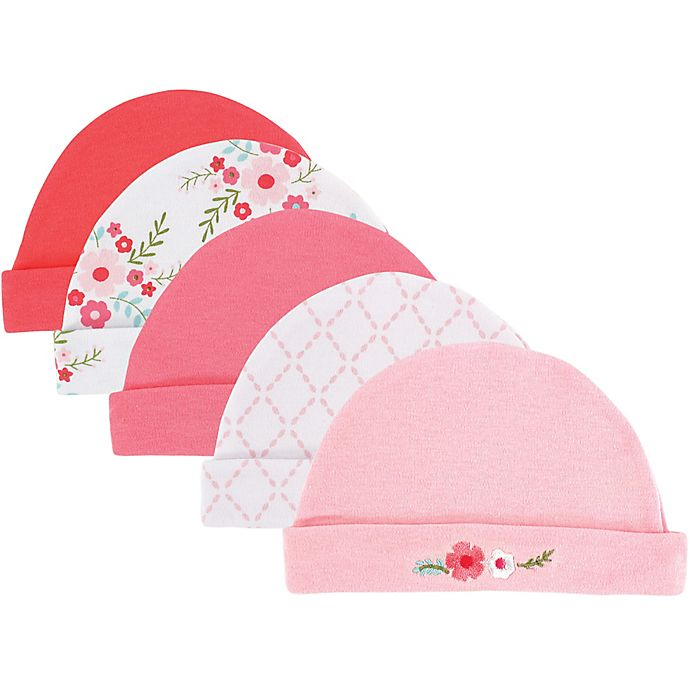 Alternate image 1 for Luvable Friends® 5-Pack Floral Caps in Pink
