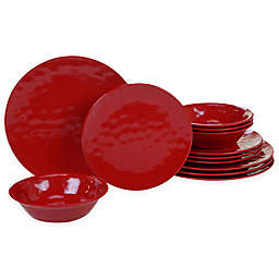 Certified International 12-Piece Melamine Dinnerware Set in Red